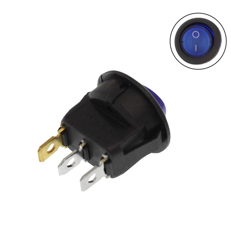 Διακόπτης On/Off 12V 20A 3 pins μπλε W1019 RCHANG