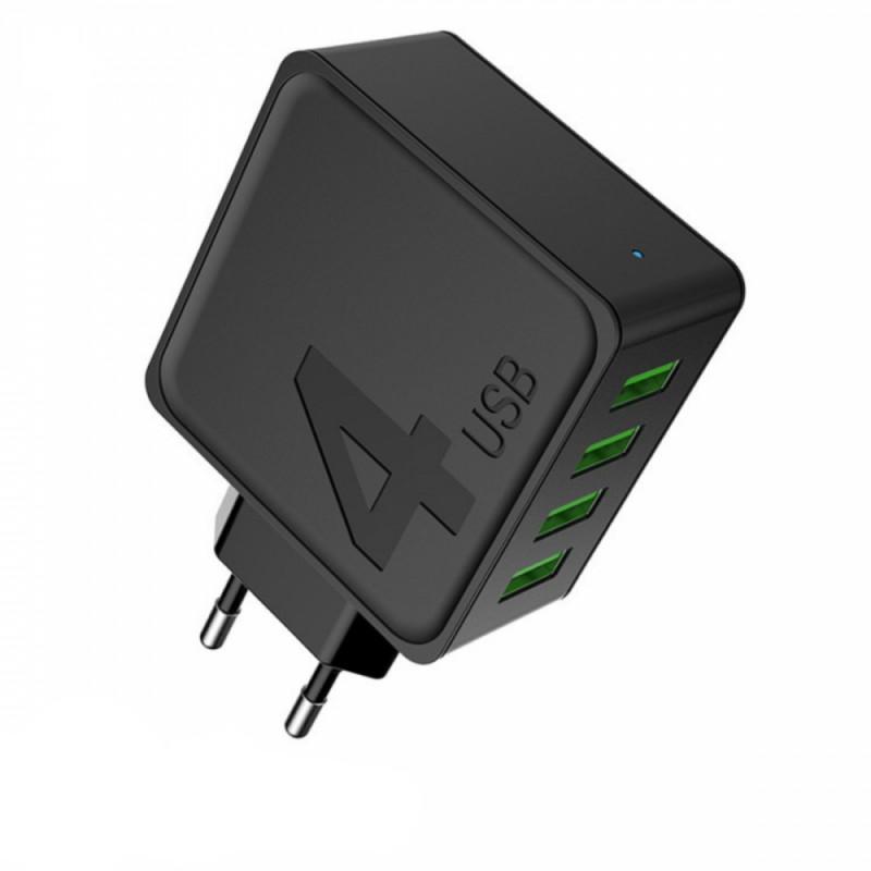 Φορτιστής με 4 θύρες USB μαύρο AWEI C-842