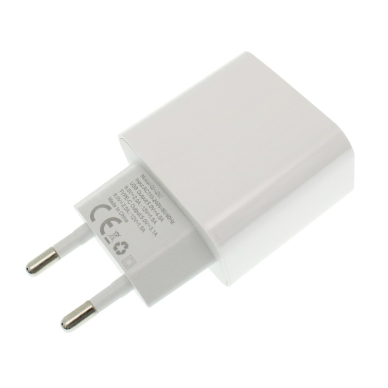 Φορτιστής γρήγορης φόρτισης 3.0 με 1 θύρα USB και 1 θύρα Type C λευκός QIHANG QH-Z47 ΟΕΜ