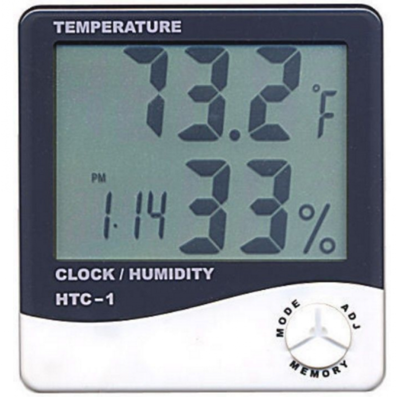 HTC-1 Lcd Digital Humidity Temperature Tester Meter Clock Hygrometer Επιτοίχια ee1397