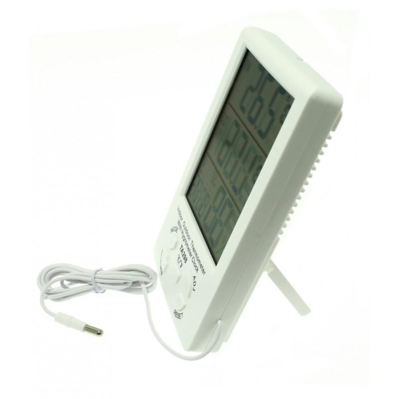 Ψηφιακό ρολόι-θερμόμετρο-υγρόμετρο LED εσωτερικού και εξωτερικού χώρου λευκό TA298 OEM Επιτοίχια ee4002