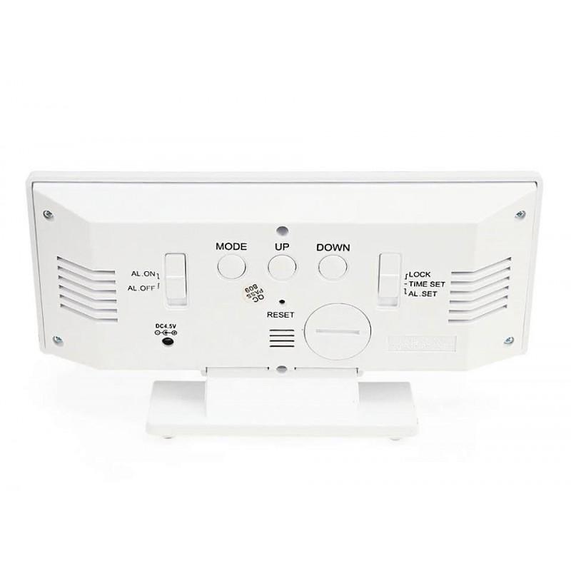 Ψηφιακό LED ρολόι-ξυπνητήρι-ημερολόγιο-θερμόμετρο καθρέπτης λευκό DS-3618L ΟΕΜ