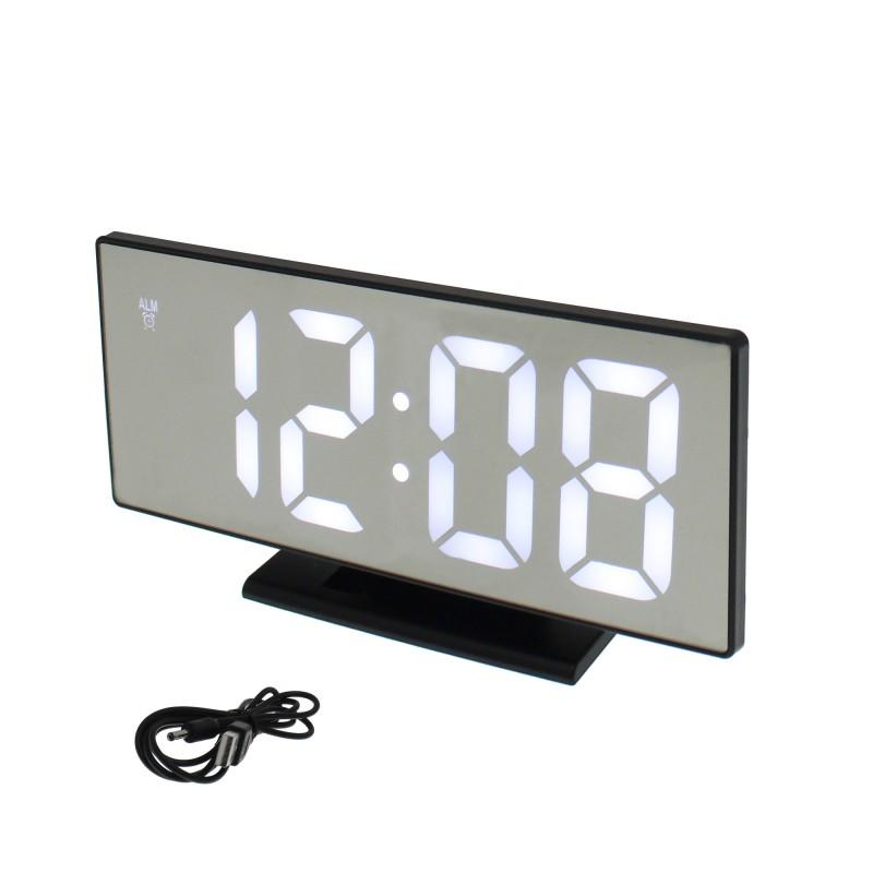 Ψηφιακό LED Ρολόι-Ξυπνητήρι-Ημερολόγιο-Θερμόμετρο καθρέφτης με λευκό φωτισμό DS-3618L ΟΕΜ