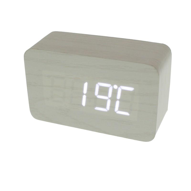 Επιτραπέζιο LED Ξύλινο Ψηφιακό ρολόι ξυπνητήρι θερμόμετρο ημερολόγιο σε χρώμα Βανίλια ΟΕΜ