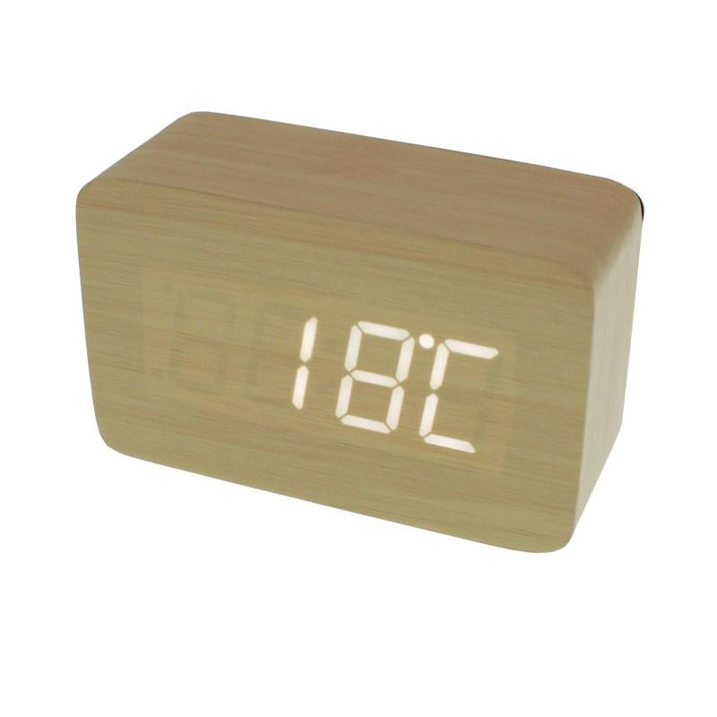Επιτραπέζιο LED Ξύλινο Ψηφιακό ρολόι ξυπνητήρι θερμόμετρο ημερολόγιο σε χρώμα Ζεστό Καφέ ΟΕΜ