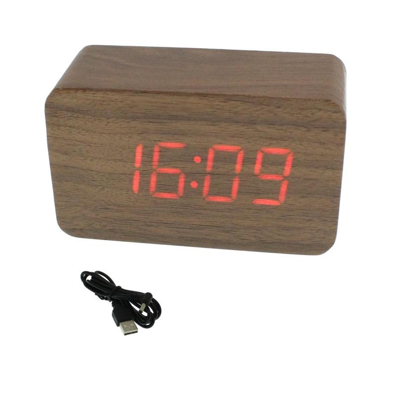 Επιτραπέζιο LED Ξύλινο Ψηφιακό ρολόι ξυπνητήρι θερμόμετρο ημερολόγιο σε χρώμα Σκούρο Καφέ ΟΕΜ