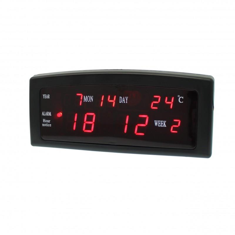 Επιτραπέζιο ψηφιακό ρολόι ξυπνητήρι θερμόμετρο ημερολόγιο με LED ένδειξη μαύρο OEM