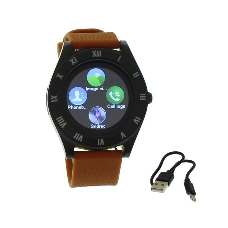 Smart Watch με κάμερα μαύρο με καφέ λουρί Μ11 ΟΕΜ