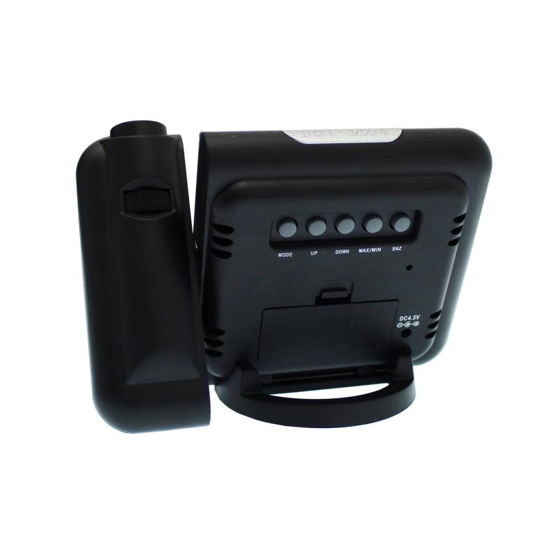 Ρολόι ξυπνητήρι θερμόμετρο με προτζέκτορα μαύρο 23003