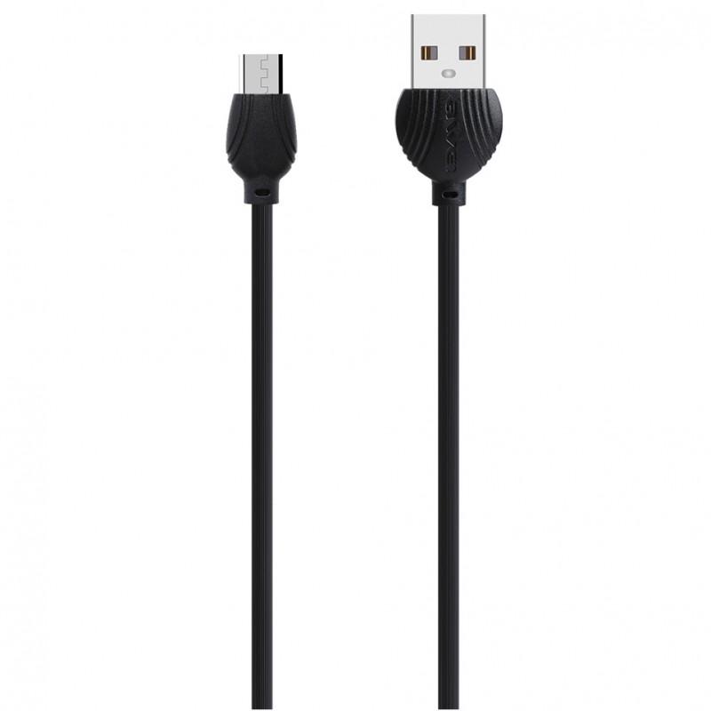 Καλώδιο γρήγορης φόρτισης 1m USB σε Micro USB μαύρο CL-61 Awei