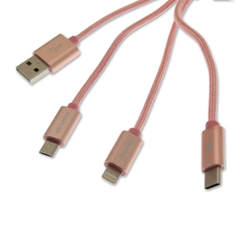 3 σε 1 καλώδιο φόρτισης και μεταφοράς δεδομένων USB για Type C, iPhone και Android 1.2m ροζ AWEI CL-970