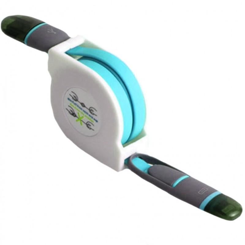 Fast charger καλώδιο USB 2 σε 1 για ipnone / android γαλάζιο 1m USB ee2862