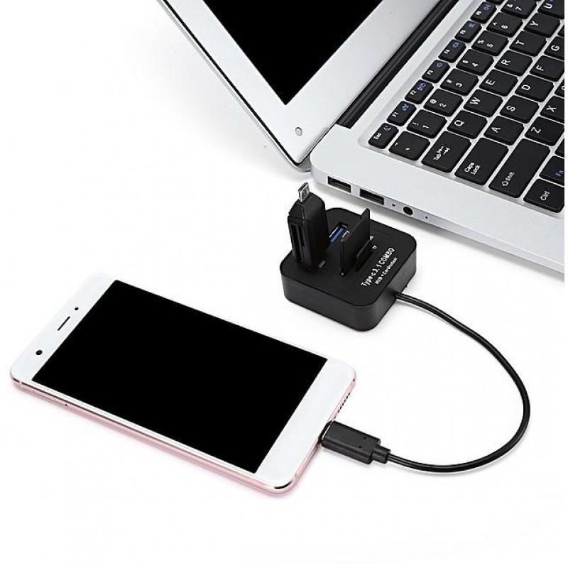 Γενικός αναγνώστης καρτών μνήμης USB 3.1 Type-C 4 θυρών με USB / SD / TF μαύρος OEM Καλώδια ee3782
