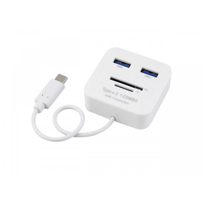 Γενικός αναγνώστης καρτών μνήμης USB 3.1 Type-C 4 θυρών με USB / SD / TF λευκός OEM Καλώδια ee3783