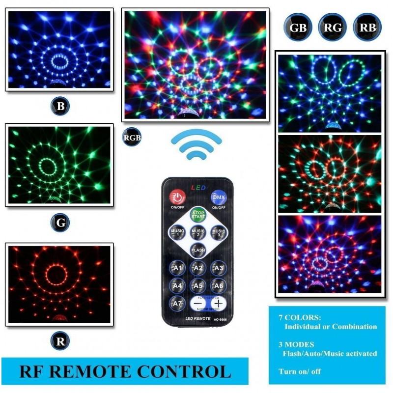 LED Φωτορυθμικό 9W με τηλεχειριστήριο και βάση RGB YB-689 Φωτορυθμικά ee3110