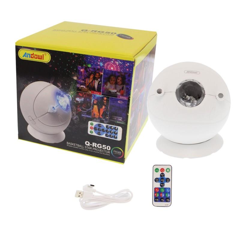 Φωτορυθμικό mini φωτιστικό-προτζέκτορας μπάλα RGB με Bluetooth ηχείο, τηλεχειριστήριο και βάση λευκό Q-RG50 Andowl