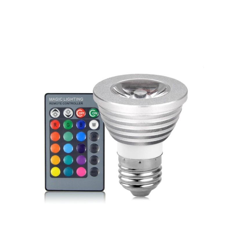 LED E27 5W spot RGB 220V με ασύρματο χειριστήριο OEM RGB ee1761