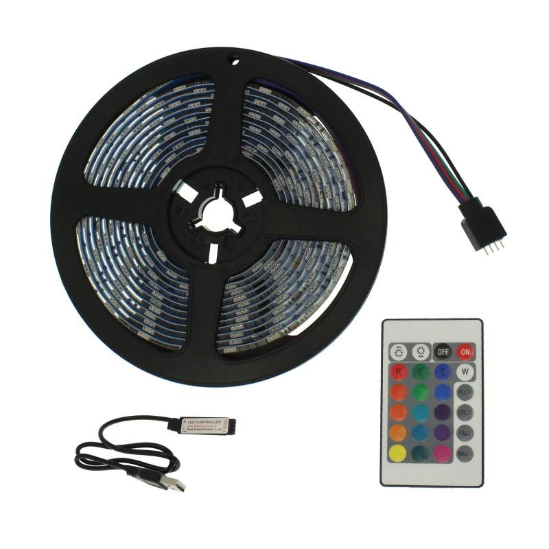 LED ταινία-strip USB 3m RGB αδιάβροχη σιλικόνης με ταινία διπλής όψεως OEM PC led ee2960