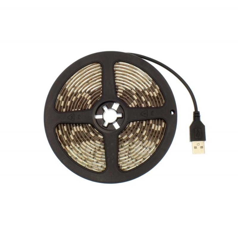 LED ταινία-strip 5050 USB 3m 14.4W white αδιάβροχη σιλικόνης με ταινία διπλής όψεως 6000K OEM PC led ee2967