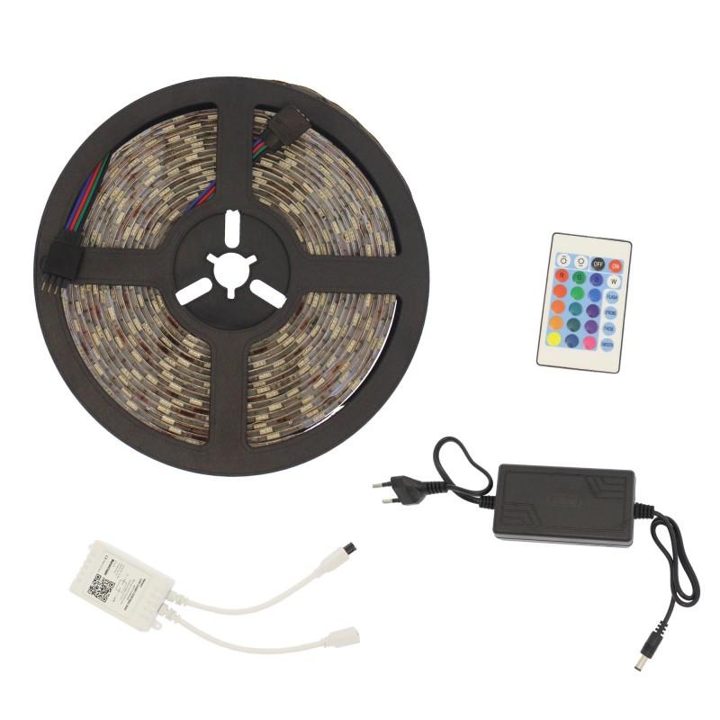 LED Ταινία-strip Smart WiFi αυτοκόλλητη 5m 300 SMD 5050 12V RGBW αδιάβροχη IP65 με τηλεχειριστήριο Q-T168 Andowl