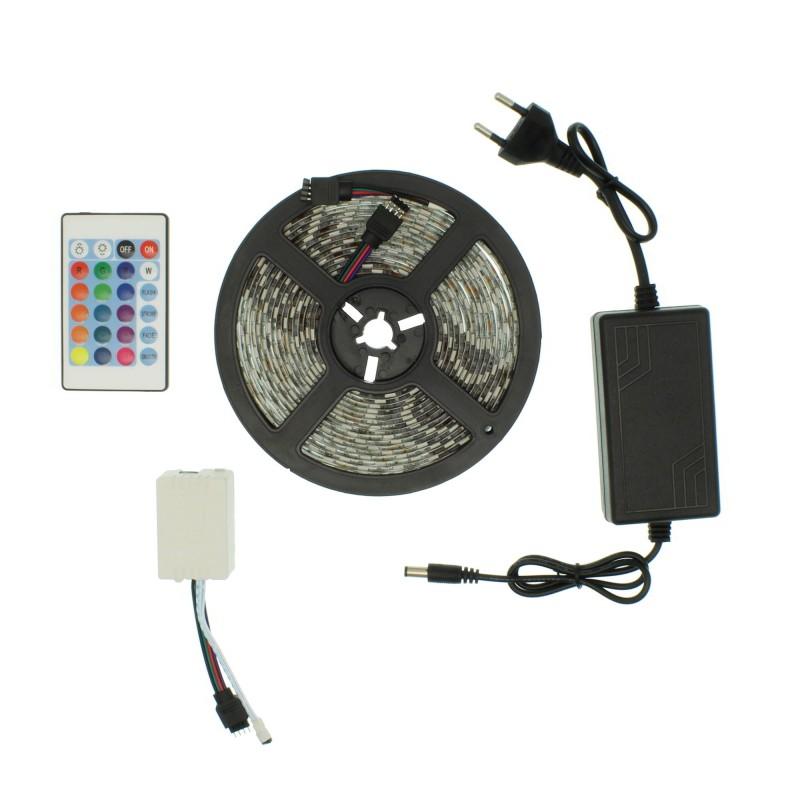 LED ταινία-strip 5m 12V 300 SMD 5050 RGB αυτοκόλλητη IP65 με τηλεχειριστήριο OEM