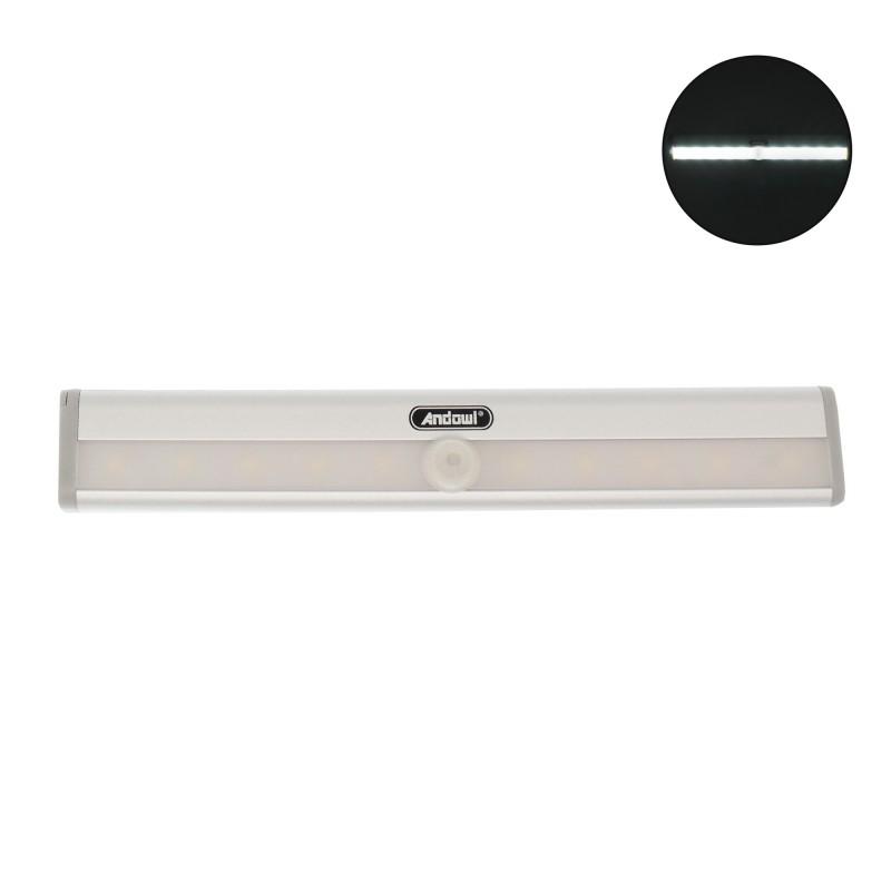 LED mini φωτιστικό ντουλάπας 10 SMD 6000K με αισθητήρα φωτός και κίνησης ασημί Q-LED100 Andowl