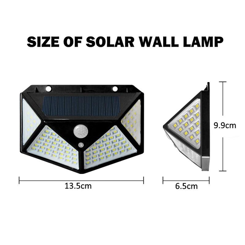 LED τριών όψεων solar εξωτερικού χώρου με ηλιακό panel και αισθητήρα κίνησης 1W 100 SMD 5.5V 600LM 1 τεμ.  IP65 SH-100 LED ee4110