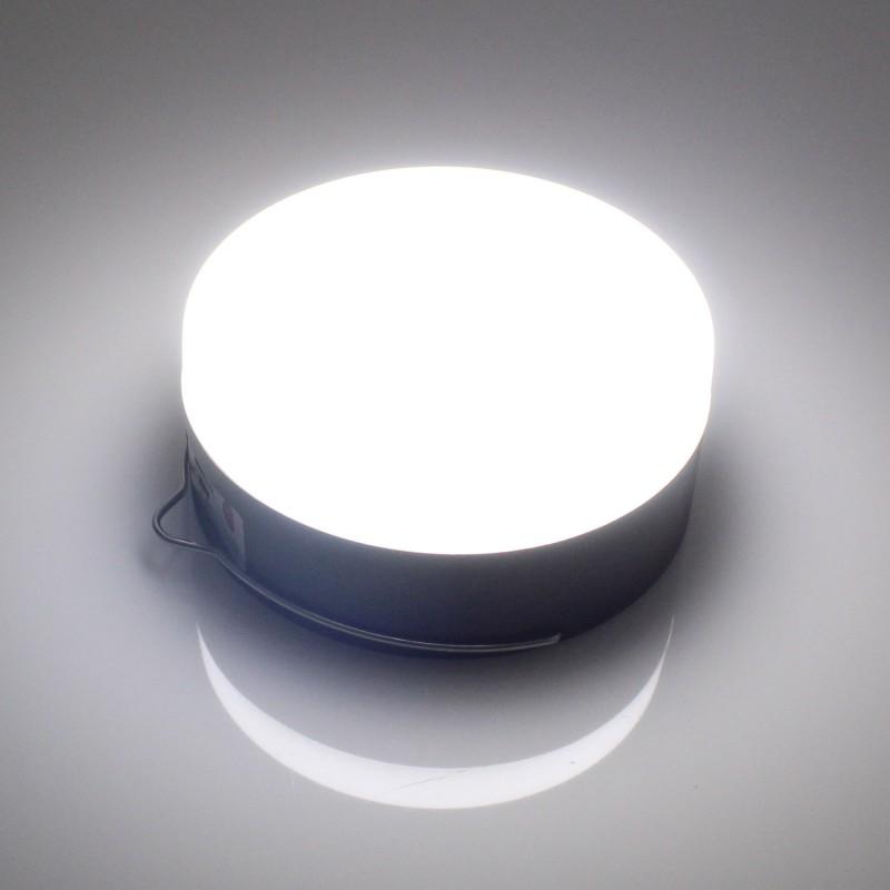 LED ηλιακό φωτιστικό για camping στρογγυλό 10W USB 6000K με γάντζο και 3 λειτουργίες φωτισμού ΟΕΜ